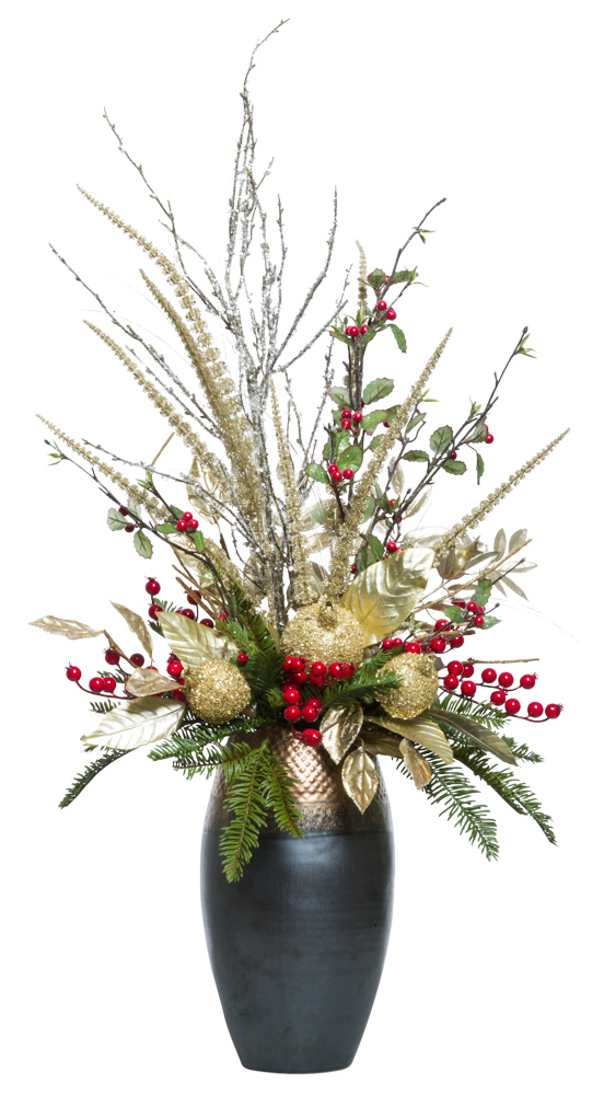 Gold/Red Centerpiece in Bronze Vase