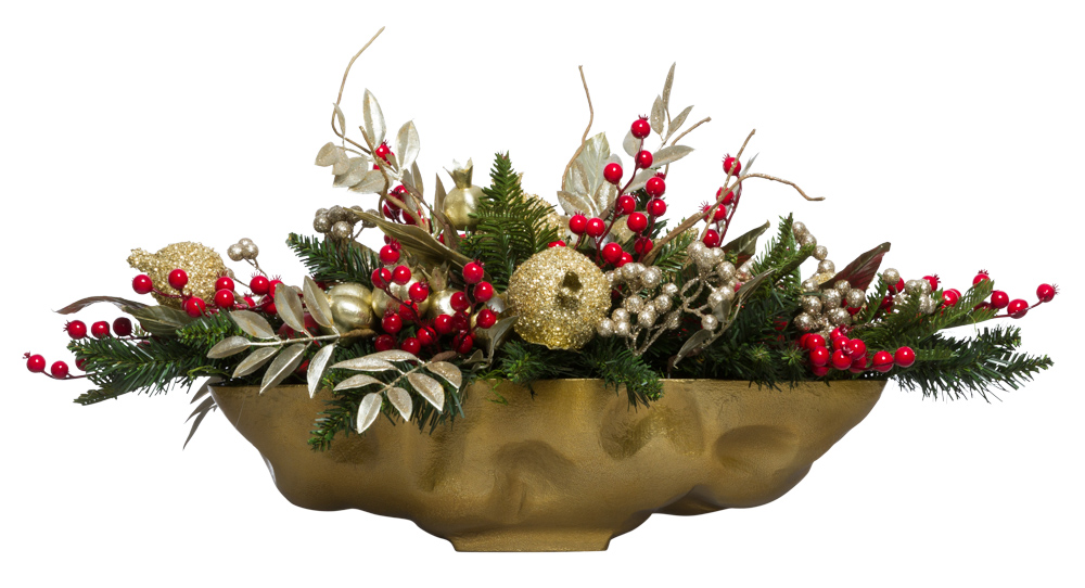 Gold/Red Centerpiece in Gold Oval