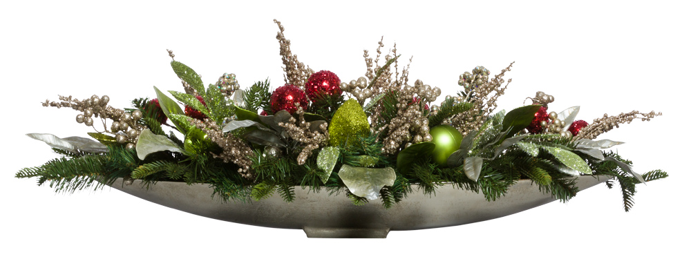 Red/Green/Citrus Centerpiece in Silver Boat
